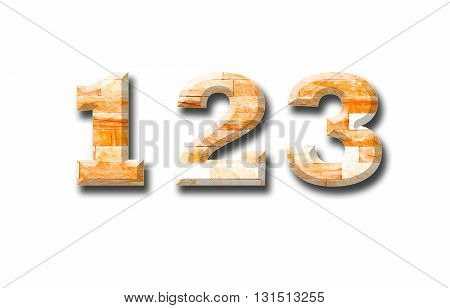 brick wall numeric 123 with shadow on white background