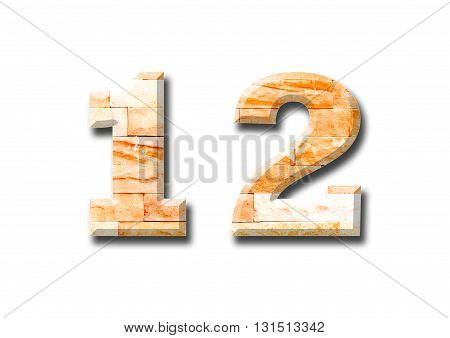 brick wall numeric with shadow on white background