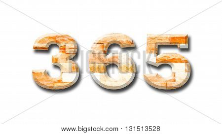 brick wall numeric 365 with shadow on white background