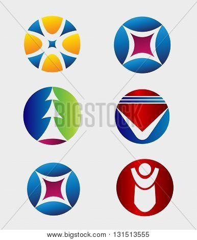 Business Icons Set - Round Business Logo