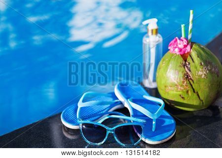 Coconut Oil Fresh Juice Smoothie Drink Cocktail Slippers And Sunglasses Swimming Pool - Summer Healt