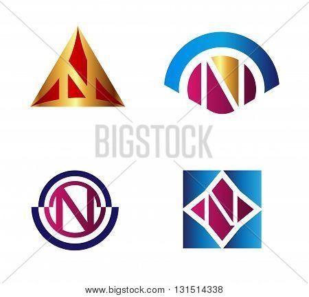 Letter N logo symbol set collection. Set of Letter N icon