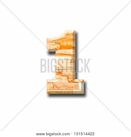 brick wall numeric 1, with shadow on white background