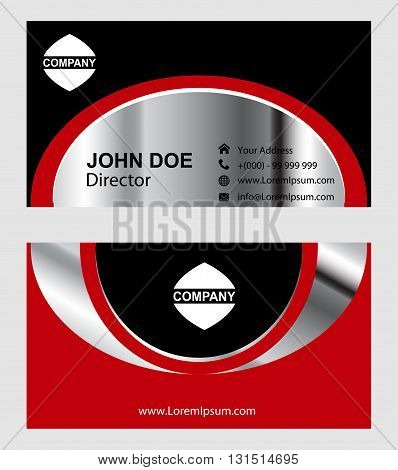Business card black and red. Business card vector