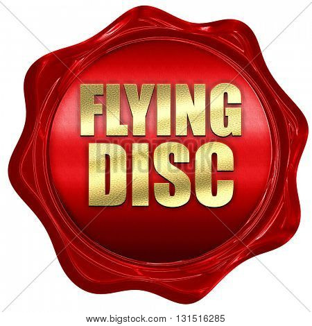 flying disc, 3D rendering, a red wax seal