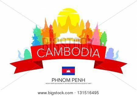Cambodia Travel Phnom Penh Travel Landmarks. Vector and Illustration.