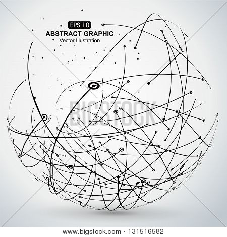 Point and curve constructed the sphere wireframe technological sense abstract illustration.