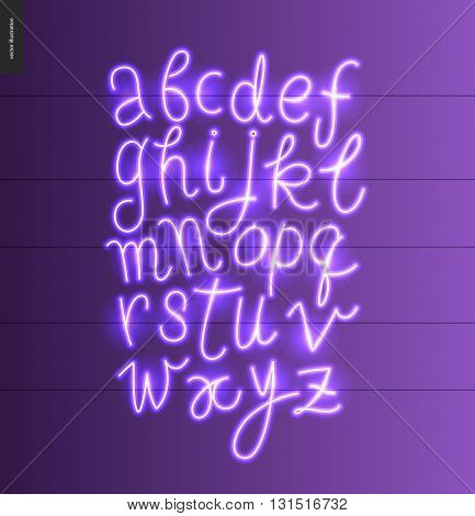Neon alphabet - vector illustrated script font glowing letters set on violet purple background