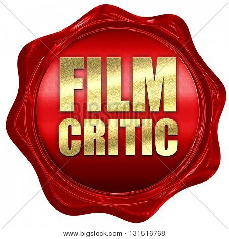 film critic, 3D rendering, a red wax seal