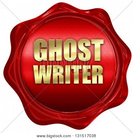 ghost writer, 3D rendering, a red wax seal