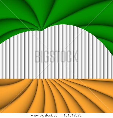 Orange green and white colored background with stripes filling the frame.
