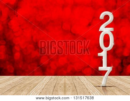 White 2017 Year Number In Perspective Room With Red Sparkling Bokeh Lights And Wooden Plank Floor,le