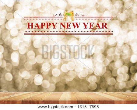 Happy New Year Word In Perspective Room With Golden Sparkling Bokeh Lights And Wooden Plank Floor,le