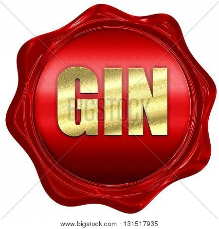 gin, 3D rendering, a red wax seal