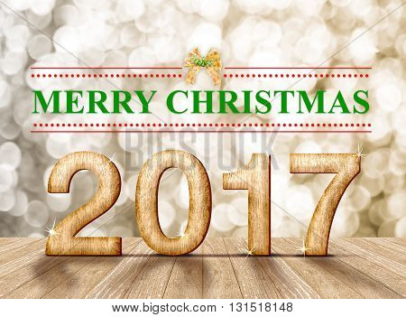 Merry Christmas 2017 Word In Perspective Room With Gold Blur Sparkling Bokeh Lights And Wooden Plank