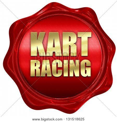 kart racing, 3D rendering, a red wax seal