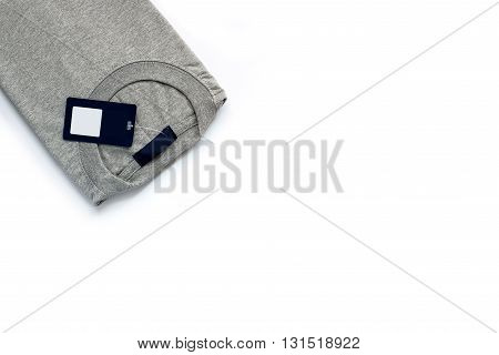Gray T-shirt on white background new product