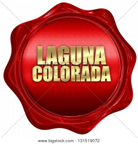 Laguna colorada, 3D rendering, a red wax seal