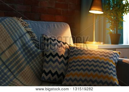 Cushions on sofa, indoors