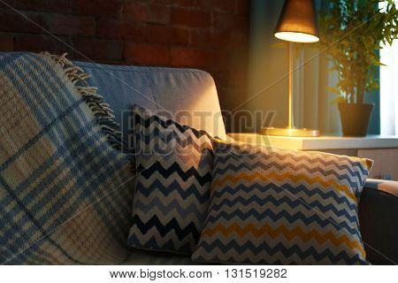 Cushions on sofa, indoors