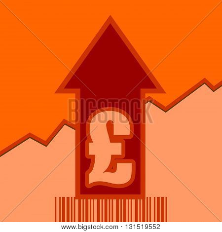 Pound sign and rise up arrow. Growth diagram and bar code. Relative for retail business. Vector illustration