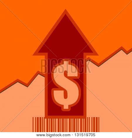 Dollar sign and rise up arrow. Growth diagram and bar code. Relative for retail business