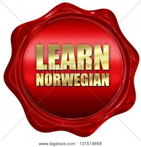 learn norwegian, 3D rendering, a red wax seal