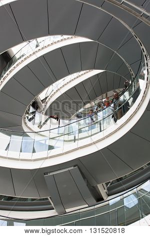 LONDON, UK - SEPTEMBER 19, 2015: Spiral stairs of London Hall, Mayor of London