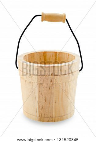 Small wooden bucket with reflection isolated on white background Saved clipping path.