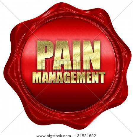 pain management, 3D rendering, a red wax seal