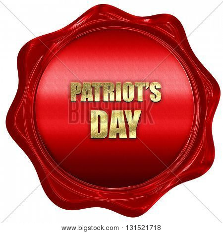 patriot's day, 3D rendering, a red wax seal