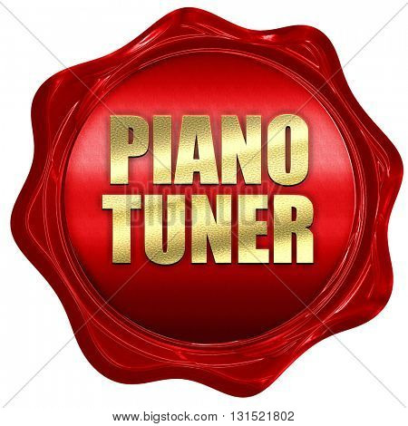 piano tuner, 3D rendering, a red wax seal