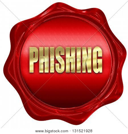 Phising fraud background, 3D rendering, a red wax seal