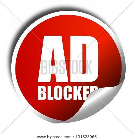 ad blocker, 3D rendering, a red shiny sticker