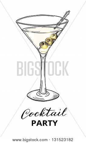 Cocktail party design template. Hand drawn cocktail in martini glass with olives. Eps10 vector illustration.