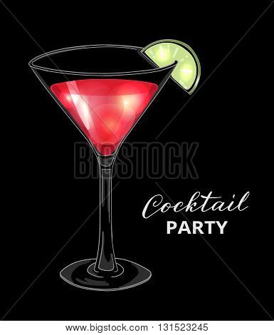 Cocktail party design template. Hand drawn cocktail in martini glass with lime on dark background. Eps10 vector illustration.