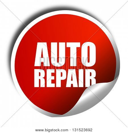 auto repair, 3D rendering, a red shiny sticker
