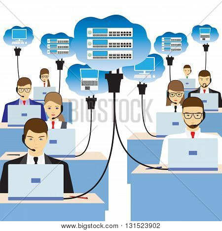 Network cloud technology. People sitting at the table and working on the network. Support service. Call center.