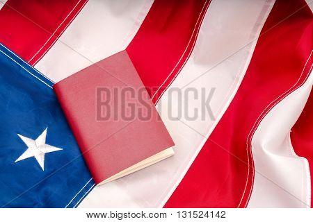 Passport on an American flag