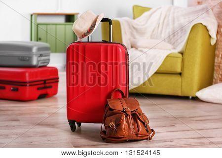 Suitcases indoors