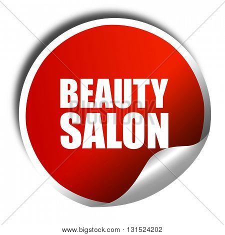 beauty salon, 3D rendering, a red shiny sticker