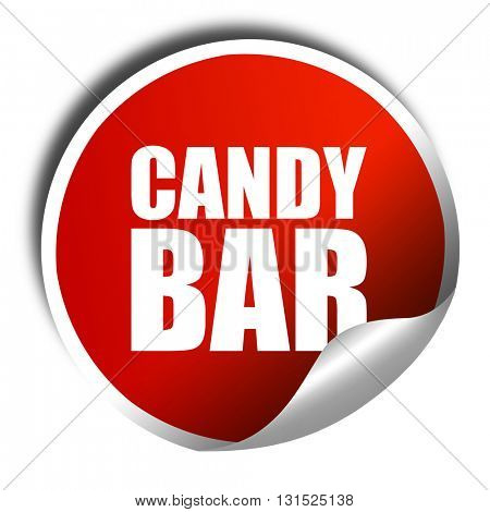 candy bar, 3D rendering, a red shiny sticker