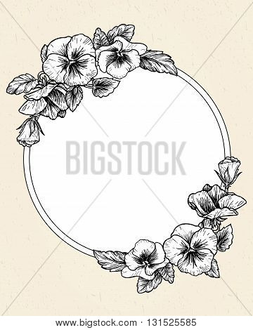 Frame with hand drawn pansy flowers, vector illustration. Vintage style.