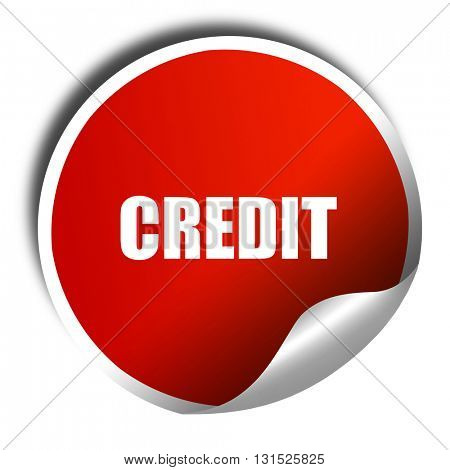 credit, 3D rendering, a red shiny sticker