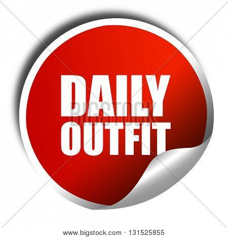 daily outfit, 3D rendering, a red shiny sticker