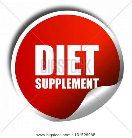 diet supplement, 3D rendering, a red shiny sticker
