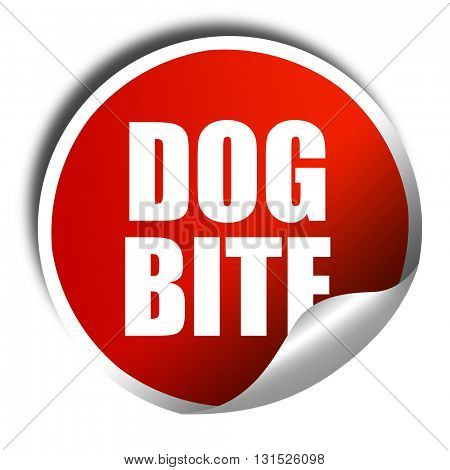 dog bite, 3D rendering, a red shiny sticker