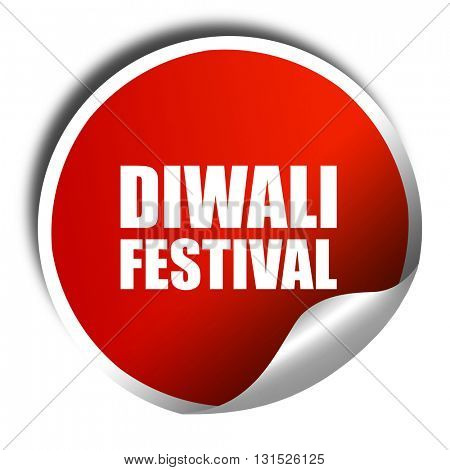 diwali festival, 3D rendering, a red shiny sticker