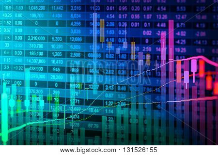 Financial data on a monitor,candle stick graph of stock market , stock market data on LED display concept