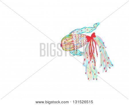 Drawing of a fantasy fish in png format.  The fish is mostly turquoise, has a red bow on it's tail and is very fancy.